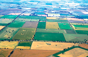 Aerial view of mixed crops at Coolamon, NSW. 1999.