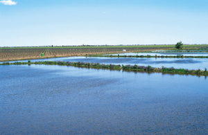 Elevated view of on farm evaporation ponds, with McWilliams newly planted vinyards in background. Hanwood, NSW.