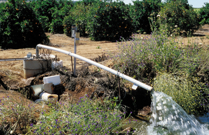 Experimental installation showing instruments measuring outflow of drainage water from citrus orchard, Griffith. NSW.