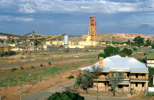 Elevated view of the New Celebration Gold Mine from the poppet head of the old Mt Charlotte Mine, Kalgoorlie, WA. 1993.
