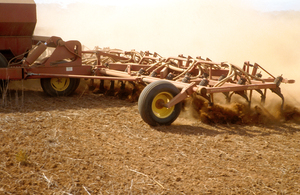 Agricultural seeding equipment in operation at Long Plains, 50 km north of Adelaide in South Australia. 1992.