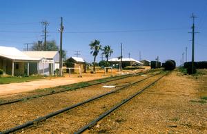 Railway siding at Rawlinna on the Indian Pacific Railway Line, 370 km east of Kalgoorlie in Western Australia. 1984.