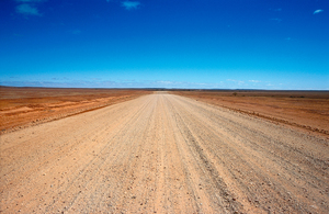 The lonely Strzelecki Track follows the old stockroute from the tiny outback township of Innamincka down to Lyndhurst, SA. Today it is the main supply track for the Moomba Oil and Gasfields in the far north of South Australia. 2004.