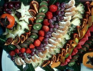Fruit platter, showcasing many exotic fruits.