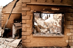 Property destroyed by fire at Kinglake after the 'Black Saturday' bushfires