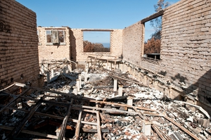 The remains of a house destroyed by fire at Kinglake after the 'Black Saturday' bushfires