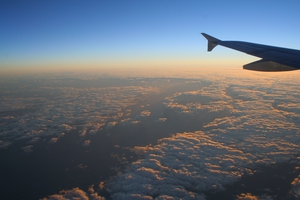 Aerial view of clouds over Bass Strait at dawn