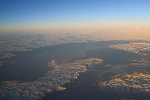 Clouds over north coast of Tasmania at dawn