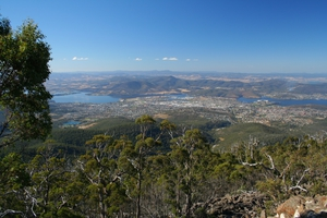 Derwent River valley, looking from Mt Wellington towards Glenorchy, Tasmania