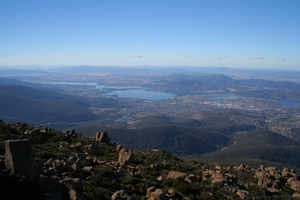 Derwent River valley, looking from Mt Wellington towards Glenorchy, Tasmania