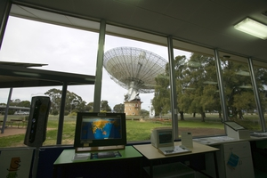 The view of the 'dish' from the CSIRO Parkes radio telescope visitors' centre