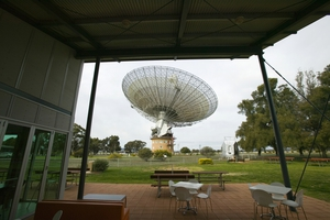 The view of the 'dish' from the CSIRO Parkes radio telescope visitors' centre