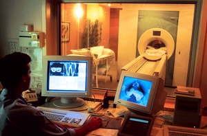 Patient undergoing MRI scan in Westmead Hospital, Sydney.