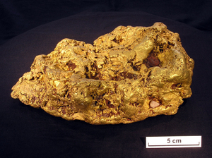 An 8 kg nugget from Victoria that was cut in two and had a thin slice