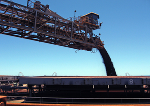 A Rio Tinto iron ore shiploader in operation in the Pilbara