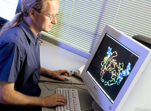 Scientist modelling protein crystal using computer