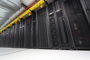 A row of computer servers in a server rack