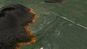 Visualisation of a bushfire spread simulation using the SPARK software