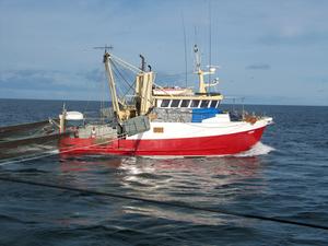 A fishing ship at sea