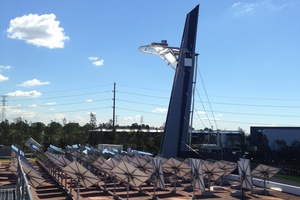 Side view of solar tower at CSIRO Energy Centre