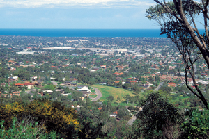 Southern suburbs of Adelaide viewed from the Windy Point Lookout, SA. 1989.
