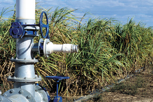 Check valve to control the flow of irrigation water to sugar cane crop at Brandon (near Ayr) in the Burdekin Irrigation Area, SE of Townsville. QLD