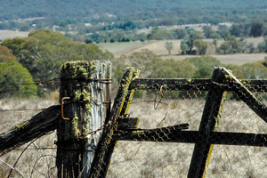 Gate and gatepost, entrance to rural property, Canberra. ACT.