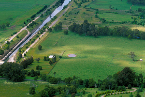 Aerial view of Fitzroy Falls Reservoir and surrounding pastoral country south of Burrawang, NSW. 1999.