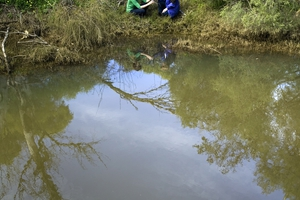 CSIRO scientists analyse a water sample from the Wungong River, Brookdale, Perth, WA