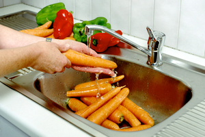 Cleaning Vegies in Running Water
