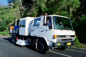 A truck fitted with RoadCrack equipment testing the road surface