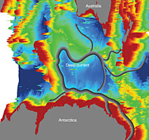 The bathymetry of the Kerguelen Plateau in the Southern Ocean governs the course of the new current, part of the global network of ocean currents.